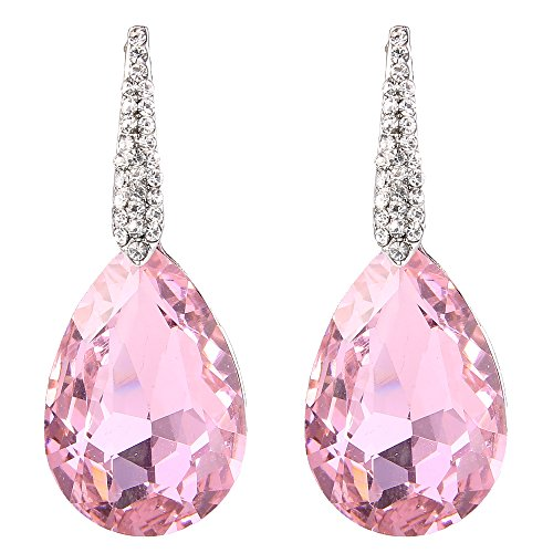 BriLove Wedding Bridal Dangle Earrings for Women Crystal Bold Teardrop Chandelier Earrings Silver-Tone Pink Tourmaline Color