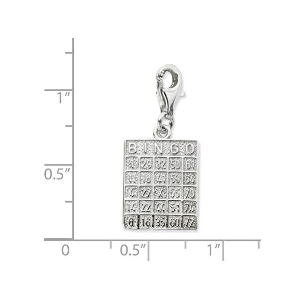 amazon com solid 925 sterling silver bingo card w lobster clasp