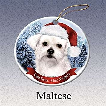 Image Unavailable. Image not available for. Color  Holiday Pet Gifts  Maltese Santa Hat Dog Porcelain Christmas Tree Ornament 8725de53e