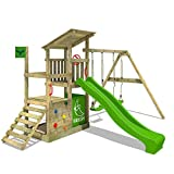 FATMOOSE Climbing Frame FruityForest Fun XXL Wooden Play Centre Playground with 3 Levels, Sloping Wooden roof, Swing with 2 Seats, Slide and Lots of Accessories