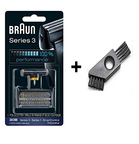Braun Series 3 Combi 30b Form 4700 81387936 7000/4000 Series Shaver Replacement Foil and Cutter Cassette Cartridge with Cleaning Brush (30B) (Braun Series 3 31b Foil And Cutter)
