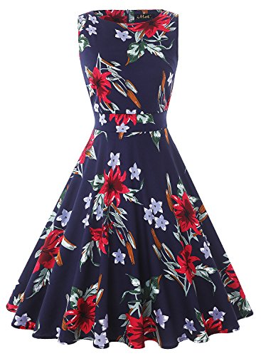 IHOT Vintage Tea Dress 1950's Floral Spring Garden Retro Swing Prom Party Cocktail Dress for ()