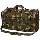 DH Dark Green Tan Brown Black Camouflage Army Print Theme School Gym Duffel Bag, Boys All Over Multi Camo Hunters Hunting Themed Sleepover Travel Duffle