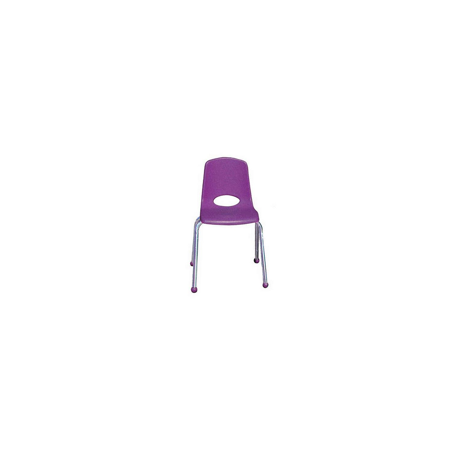 ECR4Kids 10'' School Stack Chair, Chrome Legs with Ball Glides, Purple (6-Pack)