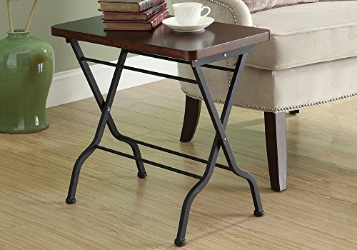 Monarch Specialties Metal Folding Accent Table, Cherry/Charcoal (Cherry Living Room Folding Table)