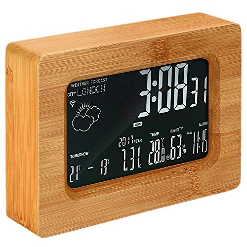 HOT-LCD Forecast Station Wooden Wi-Fi Wireless Digital Weather Station Alarm Clock for iOS Android Smartphone, Wood Color