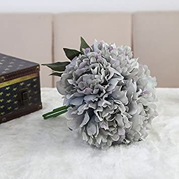 Amazon artificial flower peony silk flowers bouquet fake flower artificial flower peony silk flowers bouquet fake flower with glass vase for room home office wedding mightylinksfo