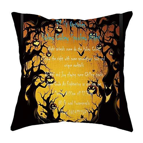 DIY Ecen Halloween Pillow Cases Flax Cushion Cover Book Store Home Office Decor (45cm45cm/18 18