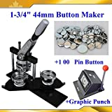 Asc365 1-3/4'' N4 Button Maker+1,00 All Metal Pin Badge+heavy Duty Punch Cutter