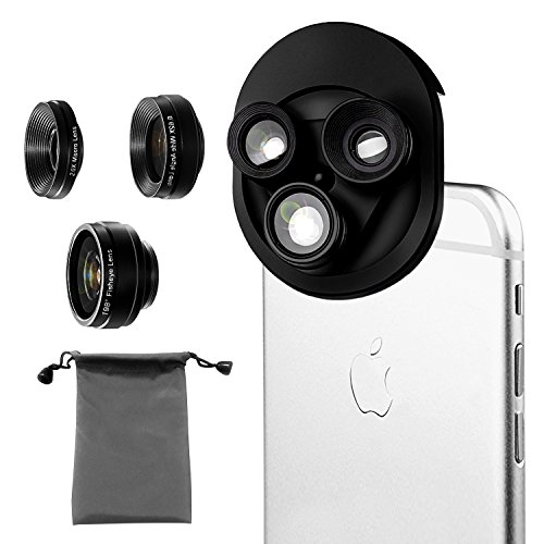 Phone Camera Lens 3 in 1, 20X Macro Lens, 198° Fisheye Lens, 0.62X Wide Angle Lens Clip On Universal HD Cell Phone Lens Kit Compatible Samsung iPhone6S/6Plus/6/Se/5/5S, Android Smartphones and More by COOLOO