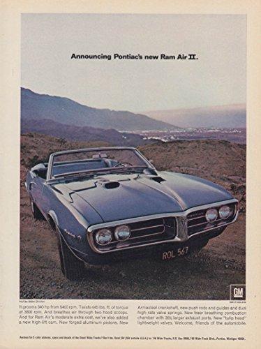 Announcing Pontiac's new Firebird Ram Air II convertible ad 1968 HR ()