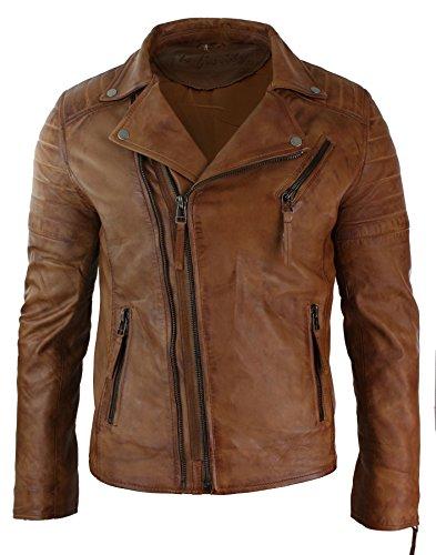 Infinity Mens Slim Fit Cross Zip Vintage Brando Washed Real Leather Jacket Black Brown Tan tan (Cross Leather Jacket)