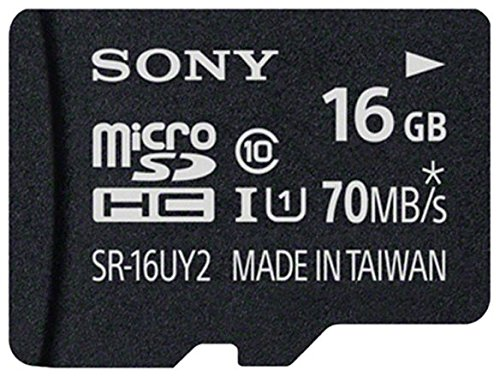 SONY Micro SD SR-16UY2A SDHC UHS-1 Class 10 16GB Memory Card + Adapter 70 MB/s