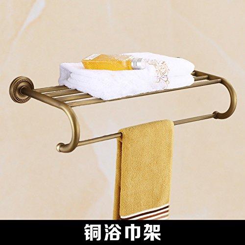 Curved bath towel rack Mangeoo All copper antique bathroom, European shelf, bathroom pendant set,Double pole