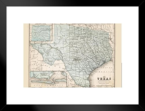 Map of Texas 1867 Antique Style Map Matted Framed Wall Art Print 20x26 inch ()