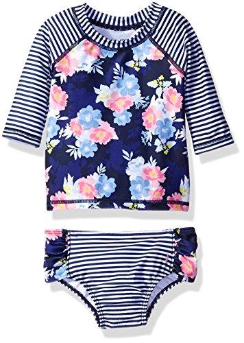 Nautica Girls Floral Stripe Rashguard