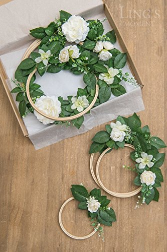 Lings-moment-Summer-Greenery-Wedding-Vine-Wreaths-Set-of-6-Floral-Wreath-Boho-Wedding-Decor-Rustic-Wedding-Backdrop-Artificial-Flowers-Ceremony-Communion-Farmhouse-Woodland-Decoration