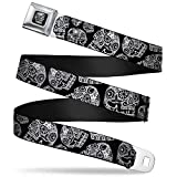 Buckle-Down Seatbelt Belt - The Dust of Living II Sugar Skulls Black/White - 1.5' Wide - 24-38 Inches in Length