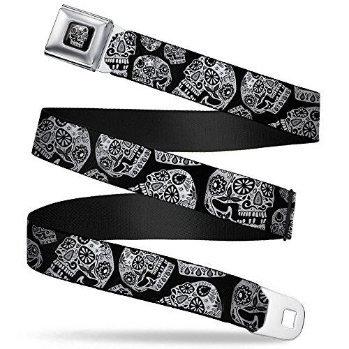 Buckle-Down Seatbelt Belt - The Dust of Living II Sugar Skulls Black/White - 1.5