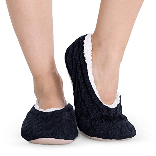 Pembrook Ladies Cable Knit Slippers – Navy - Medium (7-8) – Ballet Style With Non-Skid Sole - Faux Shearling Lining and Suede Sole - Great Plush Slip On House Slippers For Adults, Women, (Cozy Cable)
