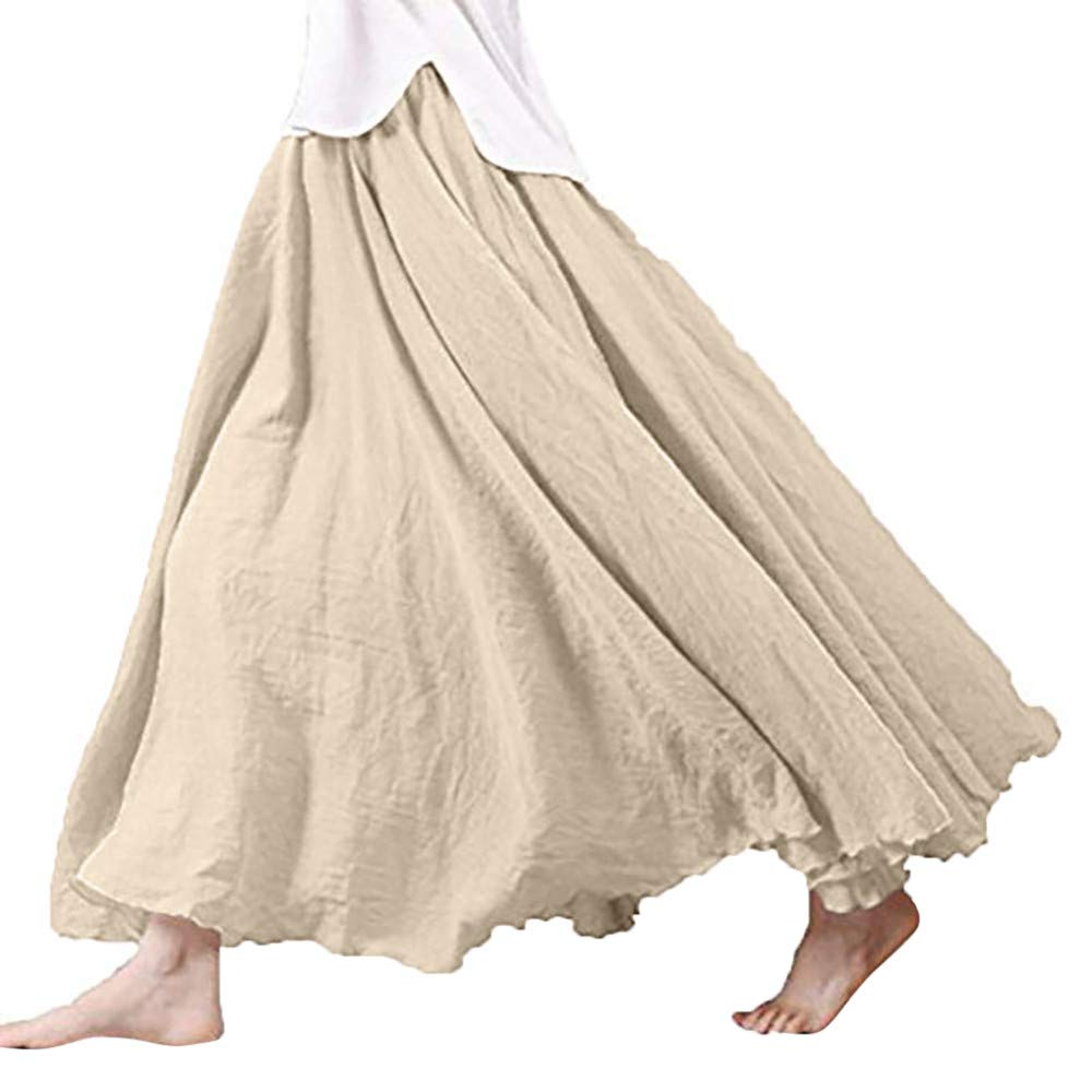Caopixx Dress Big Promotion for Women Bohemian Style Elastic Waist Band Cotton Linen Long Maxi Skirt Dress Casual