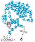 Catholic Light Blue Rosary With Crystals Beads Miraculous Medal and Jesus Crucifix