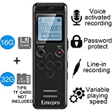 16GB Digital Voice Activated Recorder for Lectures - Eztecpro 580 Hours Sound Audio Recorder Dictaphone Voice Activated Recorder Recording Device with Playback,MP3 Player,Password,Variable Speed