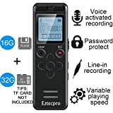 16GB Digital Voice Activated Recorder for Lectures - Eztecpro 580 Hours Sound Audio Recorder Dictaphone Voice Activated Recorder Recording Device with Playback