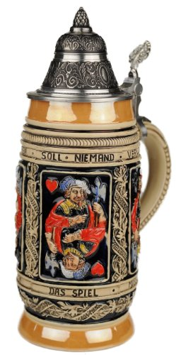 Beer Stein by King - Thewalt 1894 Card Players Relief German Beer Stein (Beer Mug) 0.5l Limited by KING