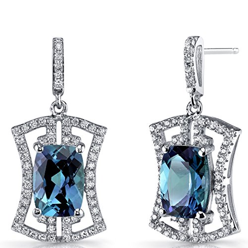 Simulated Alexandrite Art Deco Drop Earrings Sterling Silver 6.5 Carats