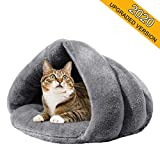Mojonnie Soft Warm Cat Bed for Winter Cat Tent Self-Warming Sleeping Bed for Cats Fleece Pet Cave Bed for Winter Pets Puppy Indoor Pet Triangle Nest (Grey)