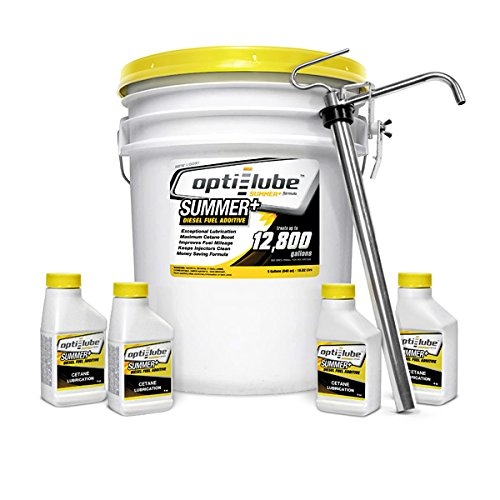 Opti-Lube Summer+ Formula Diesel Fuel Additive: 5 Gallon Pail with 1 Heavy Duty Metal Pail Pump and 4 Empty 4oz Bottles. Treats up to 12,800 Gallons by Opti-Lube