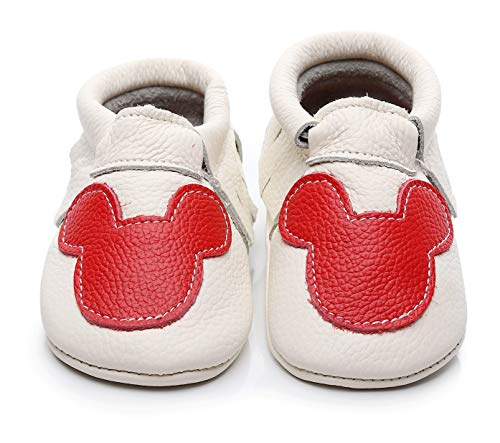 Cartoon Printed Genuine Leather Baby Moccasins - Boys Girls Fringe Slippers Shoes for Infants,Toddlers,First Walkers (18-24 Months/8 US Toddler/14.5 cm, White)