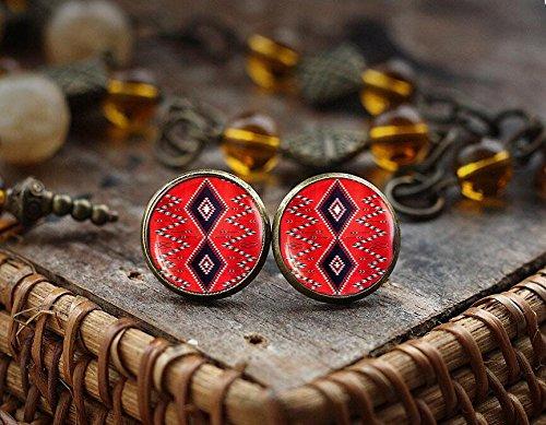 Native American Indian art stud earrings, American Indian ornament earrings, Southwestern Jewelry, boho tribal ethnic earrings,