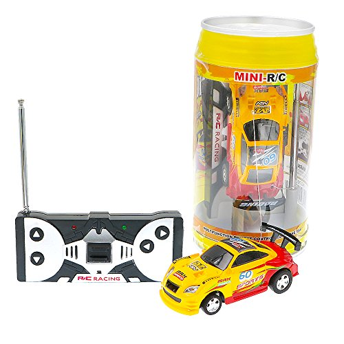 Coke Can Fast Mini RC Micro Racing Car RC Hobby Vehicle Toy(1PCS) (YELLOW RED) (Pocket Racer)