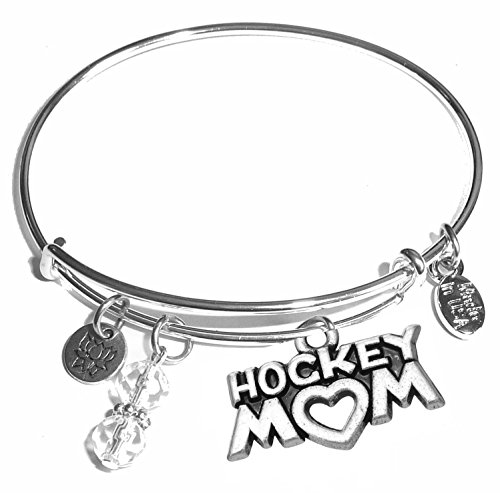 Charm Hockey Mom - Message Charm (46 words to choose from) Expandable Wire Bangle Bracelet, in the popular style, COMES IN A GIFT BOX! (Hockey Mom)