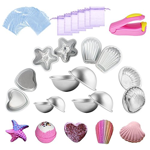 Kyerivs Metal Bath Bomb Mold 14 PCS(6 Hemispheres, 2 Starfish, 2 Heart, 2 Shell, 2 Scallop) with 100 Shrink Wrap Bags 6 Gift Bag and 1 Mini Heat Sealer For Bath Bombs Handmade Soaps & Cake (Heart Scallop)