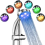 """7TECH LED Shower Head 9.3"""" Water Heater 7 Colors Changing No Battery Needed Bathroom Use"""