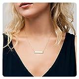 Fremttly Womens Simple Delicate Handmade 14K Gold Filled Bar Necklace Chain Friendship Necklace-CK-Bar