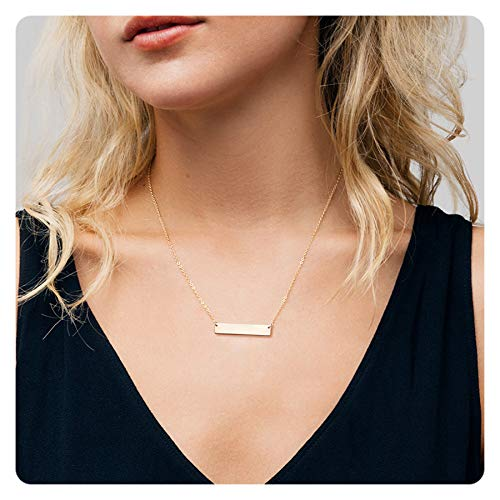 Fremttly Womens Simple Delicate Handmade 14K Gold Filled Simple Delicate Heart and Bar Necklace Chokers Necklace-CK-Bar