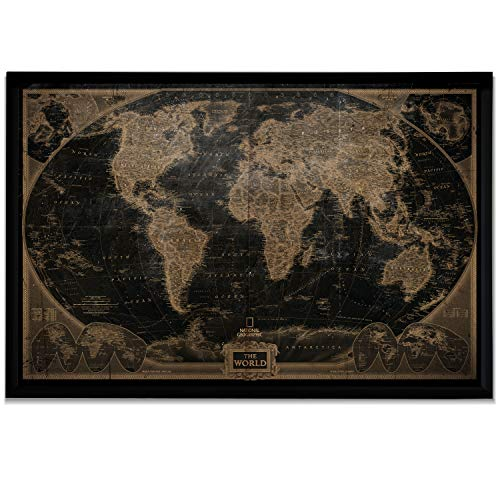 World Travel Map Wall Art Collection Executive National Geographic World Travel Map Fine Giclee Prints Framed Wall Art with Push Pin, Ready to Hang, 28X40, Vintage with Black