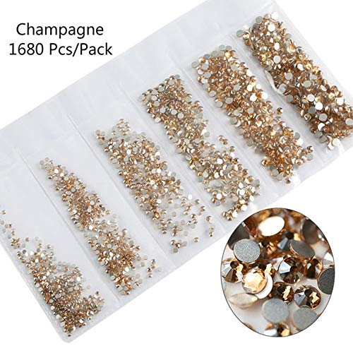Nail Art Accessories - Multi-size Glass Nail Rhinestones For Nails Decorations Crystals Strass Charms Partition Mixed Size Rhinestone Set 3D Nail Decoration - Plate Champagne ()