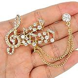 EVER FAITH Bridal Musical Note Brooch Collar Chain Clear Austrian Crystal Gold-Tone N04384-1