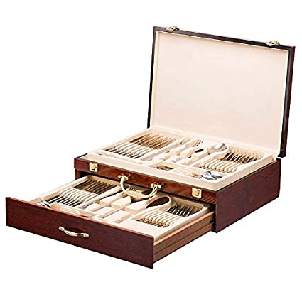 Charmant Italian Collection Flatware Wooden Box, Premium Case For Flatware With  Drawer, Silverware Storage Chest