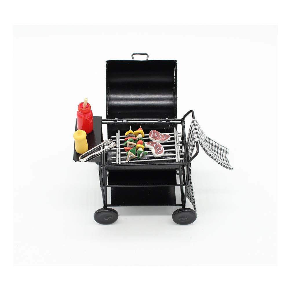 Miniature Alloy Outdoor Round Barbecue Grill Cart 1:12 Dollhouse Garden Decor