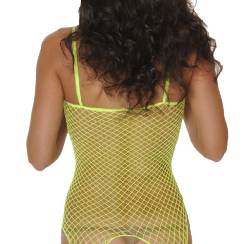 Rene Rofe Women's Industrial Net Crotchless Bodystocking, Black, One Size