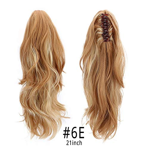 Synthetic Claw Clip On PonyT-àil s Hair Pieces Long Wave Clip In Human Hair s Heat Resistant PonyT-àil Wigs 150g,HPP006E,16-21inches