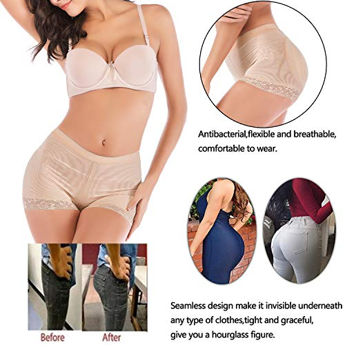 8daa5988c8f10 FUT Womens Seamless Butt Lifter Padded Lace Panties Hip Enhancer Underwear  Shapewear Boyshort