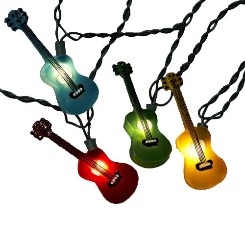 Kurt Adler Multi-Colored Plastic Guitars Light String - Set of 10 Lights