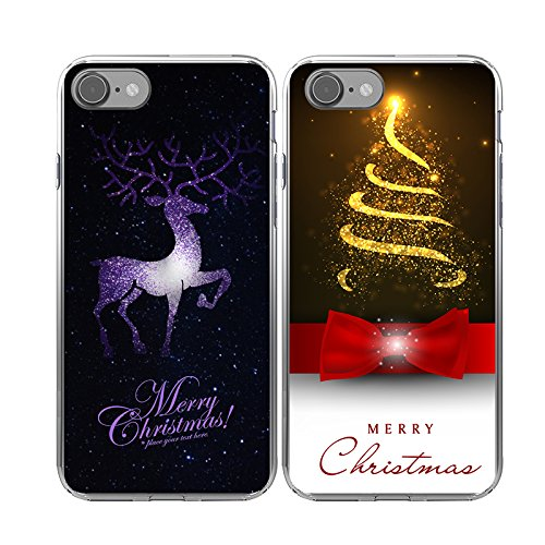 iPhone 7/8 2x Christmas Cases,TTOTT Merry Christmas Gift 2X New Floral Fashion Deer Bling Gold Christmas Tree Pattern Slim Bumper Anti Scratch Shockproof Matching Couple Cases for iPhone 7/8- 4.7inch -